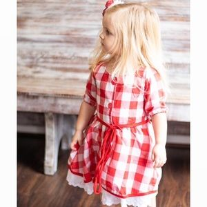 Red Buffalo Plaid Eyelet Lace Dress
